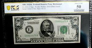 $50 1928-A Federal Reserve Note Richmond E-A Block FR #2101-E PCGS 50 ALMOST UNC