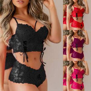 Womens Sexy Lingerie Bra Thong Underwear Lace Bodies Sissy Bodysuit Nightwear