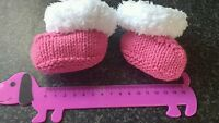 Beautiful Baby girl raspberry pink hand knit snuggle boot bootees 0 to 3 months