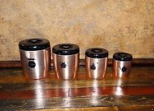 18534 Vintage Mid-Century CANISTERS Retro Kitchen Counter Set ~ West Bend Alumin