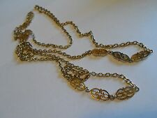Gold Tone Textured Chain Necklace With Filigree Segment Links, Unmarked, 50""