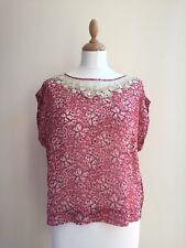 NW3 Hobbs Pink Floral Dove Bird 100% Silk Lace Trim Blouse Top - UK 14