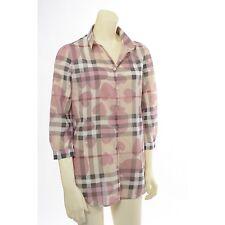 100% Authentic Burberry Nova Check Heart Women's Shirt Blouse Top Size XS
