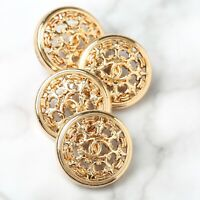 Chanel Buttons 4pc CC Gold 21mm Vintage Style 4 Buttons unstamped AUTH!!!