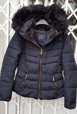 ZARA Anorak Chaqueta Abrigo Talla M Navy 10 -12 capucha ribeteada de piel Puffa estilo magnífico