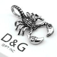 DG Men's Silver Stainless Steel 50mm Scorpion Charm Pendant Unisex + BOX