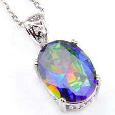 Natural Bluish Rainbow Mystic Fire Topaz Platinum Plated Necklace Pendants New
