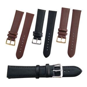 Women Mens Vintage Genuine Leather Watch Band Black Brown Watch Strap 8mm - 24mm