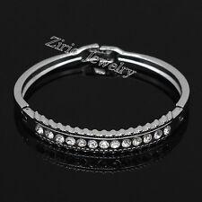 Shining Stainless Steel Crystal Bridal Wedding Bracelet Bangle Cuff Jewelry Gift
