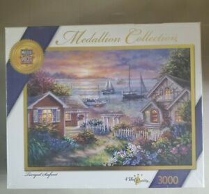 Masterpieces Medallion Collection 3000 Piece Puzzle. Tranquil Seafront. Sealed.
