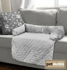 Crushed Velvet Pet Sofa Bed Furniture Protector Washable Quilted Mat Bolster Set