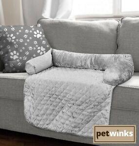 Crushed Velvet Pet Sofa Bed Furniture Protector Washable Quilted Mat Bolster Set