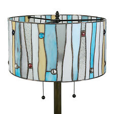 "Tiffany Style Blue Contemporary Floor Lamp Handcrafted 16"" Shade"