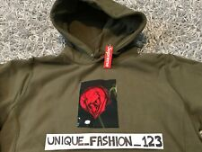 SUPREME X ARAKI ROSE HOODED SWEATSHIRT L OLIVE GREEN BOX LOGO LARGE FW16 HOODIE
