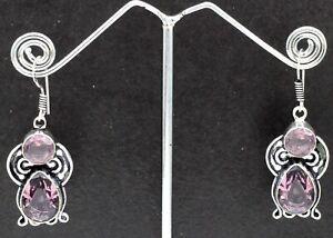 925 Sterling Silver Purple  Amethyst Gemstone Jewelry Earring Size-1.20''