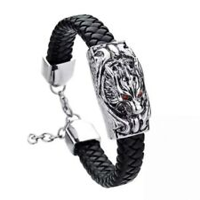 Wolf Silver Tone Stainless Steel And Black Leather Men's Bracelet Unisex