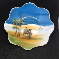 More details for vintage noritake camel desert scene gilt rimmed bowl