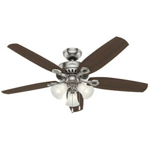 """Hunter Builder Plus 52"""" Ceiling Fan w/ LED Lights and Pull Chain, Brushed Nickel"""