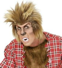 Mens Werewolf Wig Horror Halloween Fancy Dress Wolfman Wolverine Teen Wolf