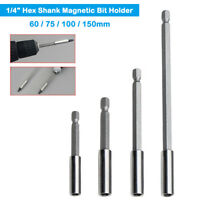 "1-5x 60/75/100/150mm Magnetic Extension Bar Bit Holder 1/4"" Hex Screwdriver Dril"