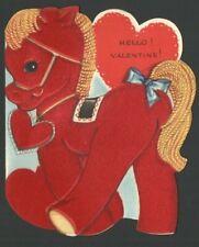 Vintage Flocked PONY w/ Red Heart HELLO Valentine Day Card