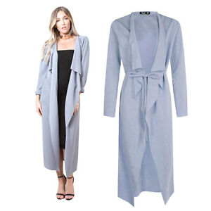 Pastel Blue Womens Maxi Midi Long Sleeved Belted Waterfall Duster Coat Jacket