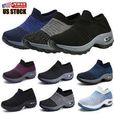 Womens Air Cushion Sport Running Shoes Comfortable Mesh Walking Slip-On Sneakers