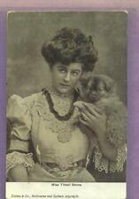 1905 PHOTO  POST CARD ACTRESS  MISS TITTELL BRUNE WITH DOG  VG+