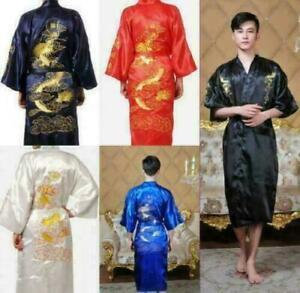 Womens/Men's Satin Japanese Chinese Kimono Dressing Gown Bath Robe Nightwear