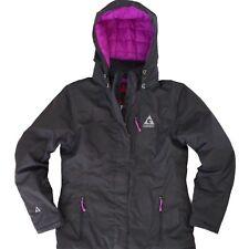 GERRY WOMENS HOODED WINTER SNOW JACKET RAIN COAT SMALL INSULATED GRAY BLACK $129