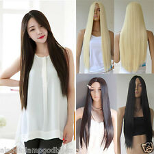 Long Straight Wig Parted Bang Hair Cosplay Women Full Wig Black/Blonde/Brown