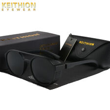 KEITHION Mens Polarized Steampunk Sunglasses Round Mirror Vintage Retro Eyewear