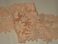"""2 yards in 4 1/2"""" width light peach color high end heavy crochet cotton trim"""