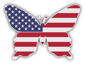 USA Flag Butterfly Car Bumper Sticker Decal 5'' x 4''