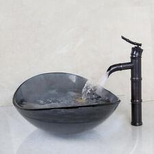 Tempered Glass Bathroom Dark Basin Sink &Black Bamboo Designed Mixer Faucet Set