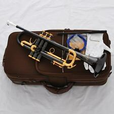 Professional Black Nickel Gold Trumpet Horn Germany Brass 3 Monel Valve New Case