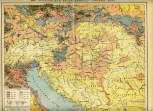 1902= REGNO AUSTRO-UNGARICO Densità Popolazione =Antica Mappa