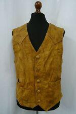 Men's Vintage Leather Waistcoat Gilet Vest 42 M