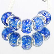 Blue snow 5pcs MURANO glass bead LAMPWORK suit European Charm Bracelet