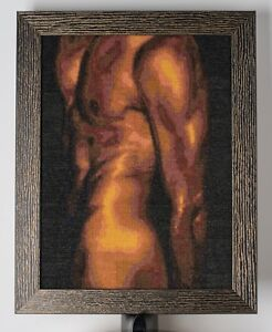 Stunning Cross-stitched handmade framed Man Body in Orange, Mauve, Dark Purple