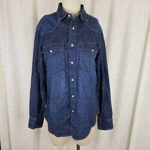 Gap Chambray Denim Blue Jean Pearl Snaps Oxford Shirt Mens S Western Trucker