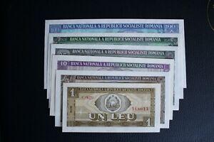 Set of 6 Romania 1966 1 5 10 25 50 100 Lei UNC