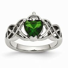 CHISEL BRAND POLISHED STAINLESS STEEL CLADDAGH WITH GREEN CZ  RING -  SIZE 8