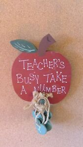 Handmade TEACHER'S BUSY TAKE A NUMBER Sign Red Apple Green Hearts Jute twine