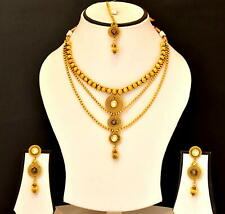 Chain Fashion Jewelry Set Gs99 Indian Traditional Necklace Earrings Gold Plated