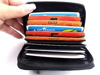 LUXURY SOFT BLACK REAL LEATHER CONCERTINA STYLE CREDIT CARD HOLDER WALLET PURSE