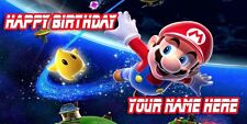 Birthday banner Personalized 4ft x 2 ft  Super Mario Bros Galaxy