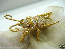 18KGP Grasshopper Swarovski Element Austrian Crystal Rhinestone Brooch Pin