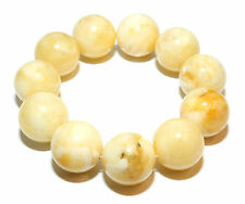 Baltic Amber Round Pressed Genuine Beads 22 mm Butter White 70.1 g Bracelet