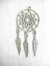 NEW NATIVE WEB SPIRIT DREAMCATCHER w 3 DANGLING FEATHERS PEWTER PENDANT NECKLACE